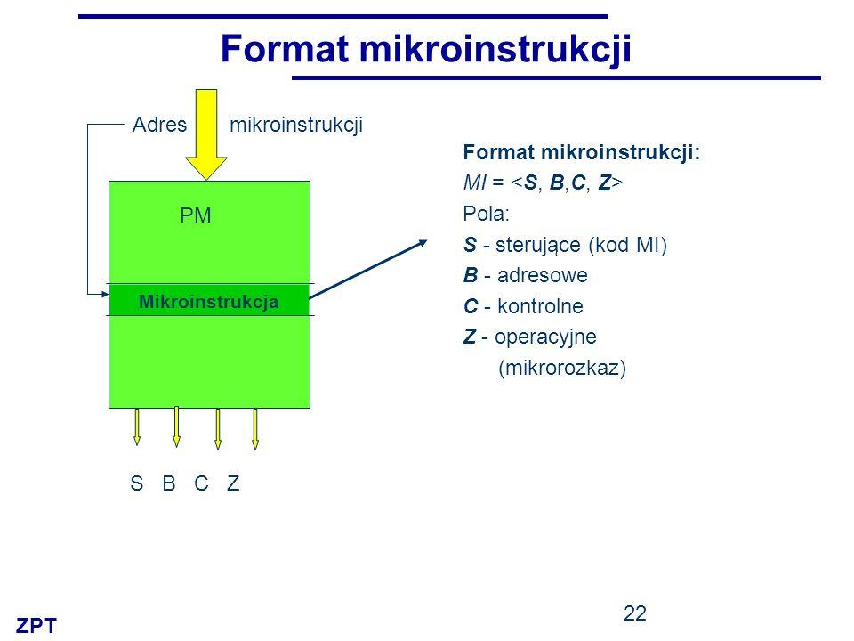 ZPT 22 Format mikroinstrukcji Format mikroinstrukcji: MI = Pola: S - sterujące (kod MI) B - adresowe C - kontrolne Z - operacyjne (mikrorozkaz) PM S B C Z Adres mikroinstrukcji Mikroinstrukcja