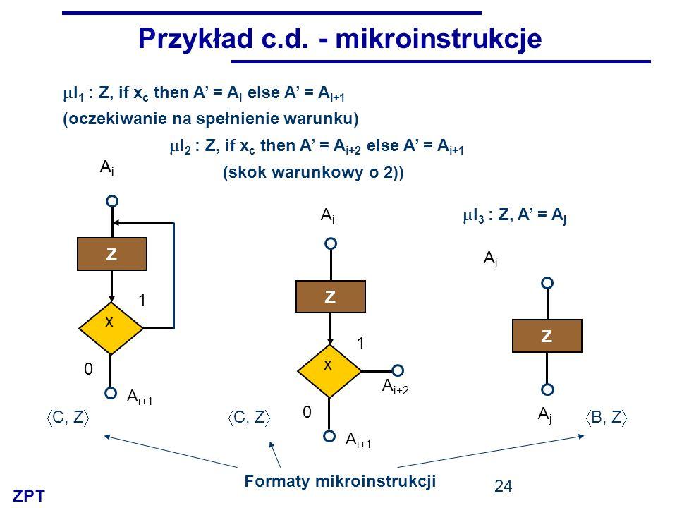ZPT 24 Przykład c.d. - mikroinstrukcje I 1 : Z, if x c then A = A i else A = A i+1 I 3 : Z, A = A j I 2 : Z, if x c then A = A i+2 else A = A i+1 Z Ai