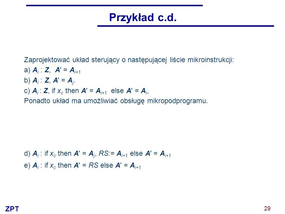 ZPT 29 Przykład c.d. Zaprojektować układ sterujący o następującej liście mikroinstrukcji: a) A i : Z, A' = A i+1 b) A i : Z, A' = A j. c) A i : Z, if