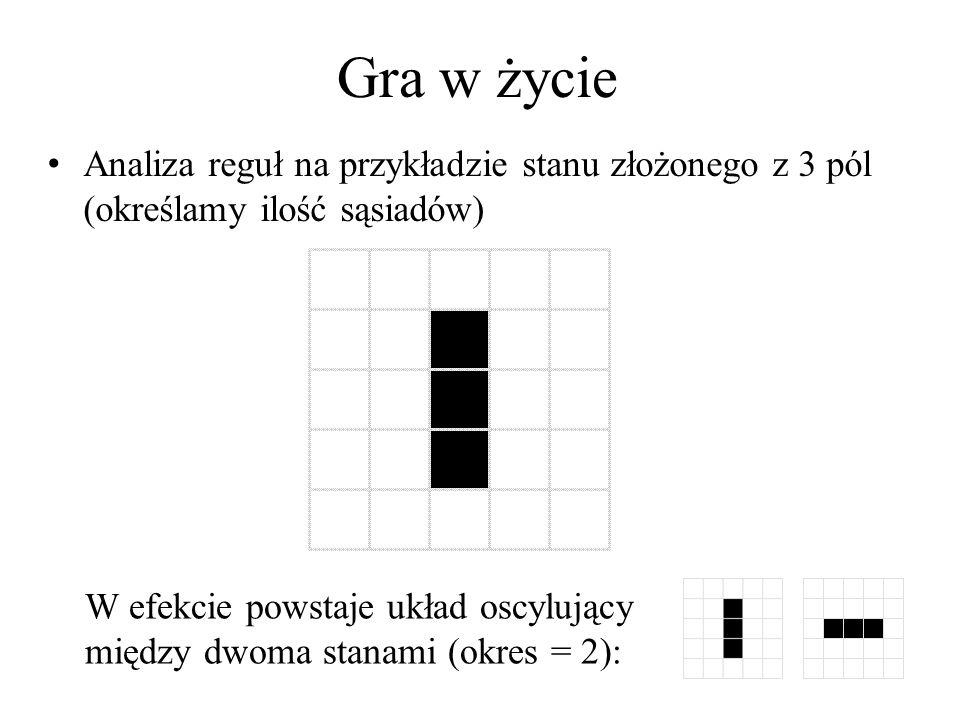 Automaty komórkowe Inne znane automaty komórkowe dwuwymiarowe: – Model Greenberga i Hastingsa automat samoporządkujący się, który z losowego ułożenia stanu komórek (możliwe stany to {0, 1, 2} ewoluuje po odpowiednio dużej liczbie kroków do stanu oscylującego – Modeluje reakcję Biełorusowa-Żaboryńskiego (chemia) zmiana barwy trzech zmieszanych roztworów wodnych Aplet Java (psoup.math.wisc.edu/java/jgh.html#T)