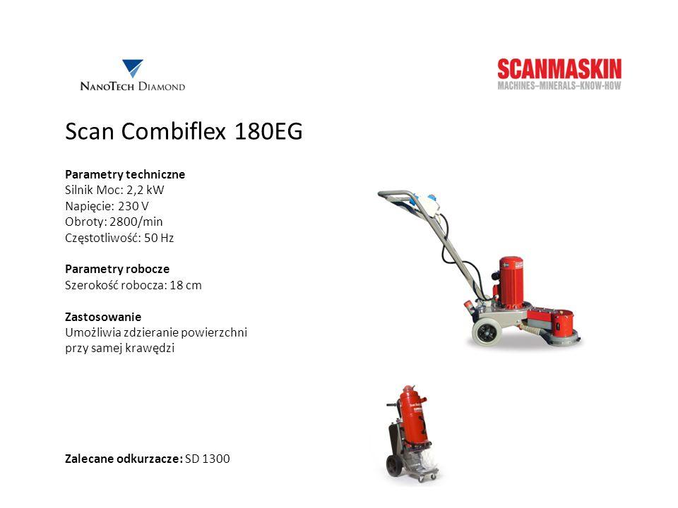 Scan Combiflex 180EG Parametry techniczne Silnik Moc: 2,2 kW Napięcie: 230 V Obroty: 2800/min Częstotliwość: 50 Hz Parametry robocze Szerokość robocza
