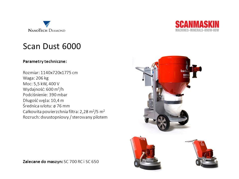 Scan Dust 6000 Parametry techniczne: Rozmiar: 1140x720x1775 cm Waga: 206 kg Moc: 5,5 kW, 400 V Wydajność: 600 m 3 /h Podciśnienie: 390 mbar Długość wę