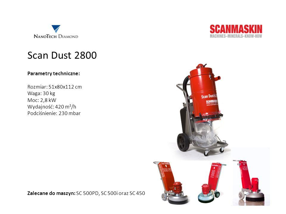 Scan Dust 2800 Parametry techniczne: Rozmiar: 51x80x112 cm Waga: 30 kg Moc: 2,8 kW Wydajność: 420 m 3 /h Podciśnienie: 230 mbar Zalecane do maszyn: SC