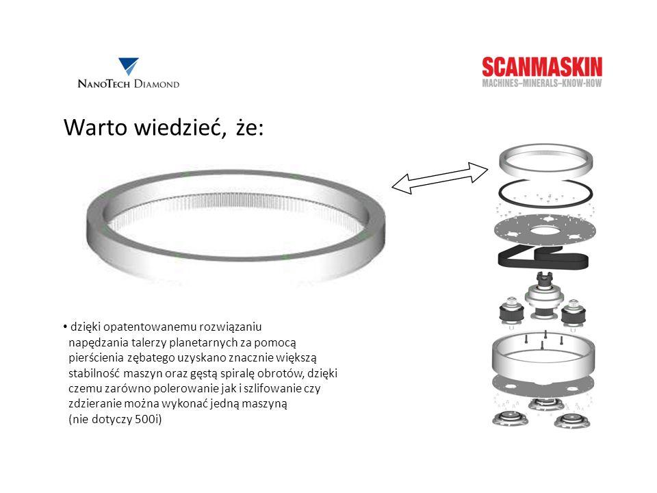 Warto wiedzieć, że: dzięki opatentowanemu rozwiązaniu napędzania talerzy planetarnych za pomocą pierścienia zębatego uzyskano znacznie większą stabiln