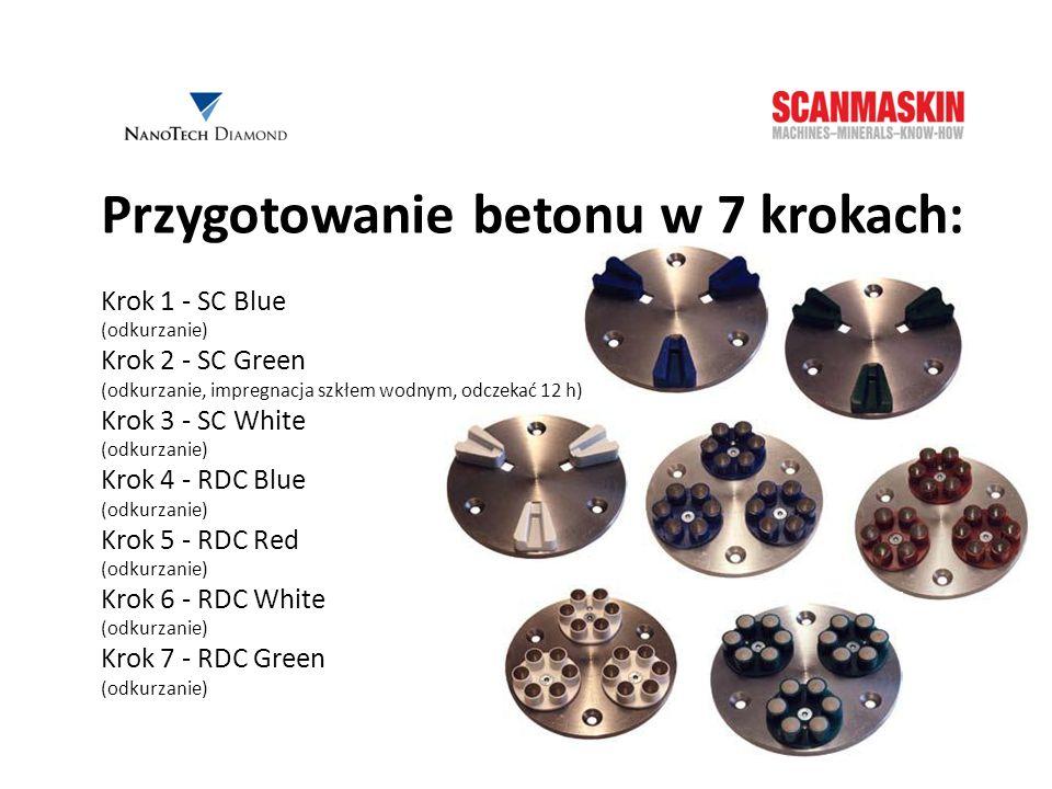 Przygotowanie betonu w 7 krokach: Krok 1 - SC Blue (odkurzanie) Krok 2 - SC Green (odkurzanie, impregnacja szkłem wodnym, odczekać 12 h) Krok 3 - SC W