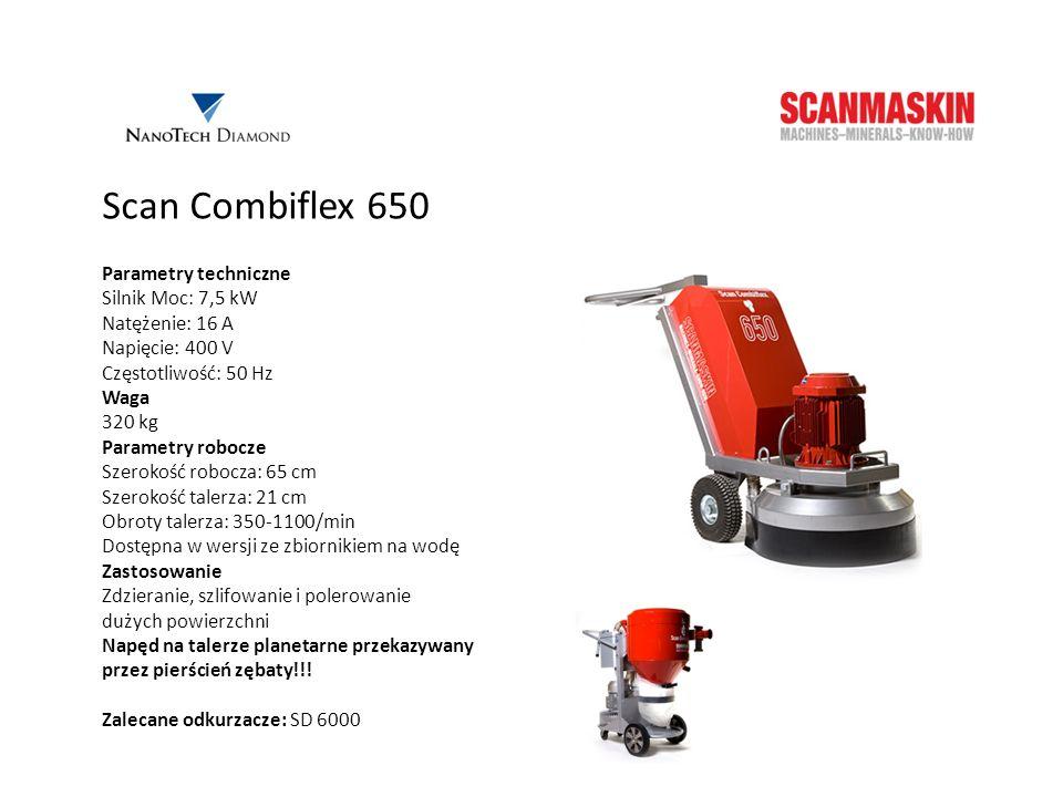 Scan Combiflex 650 Parametry techniczne Silnik Moc: 7,5 kW Natężenie: 16 A Napięcie: 400 V Częstotliwość: 50 Hz Waga 320 kg Parametry robocze Szerokoś