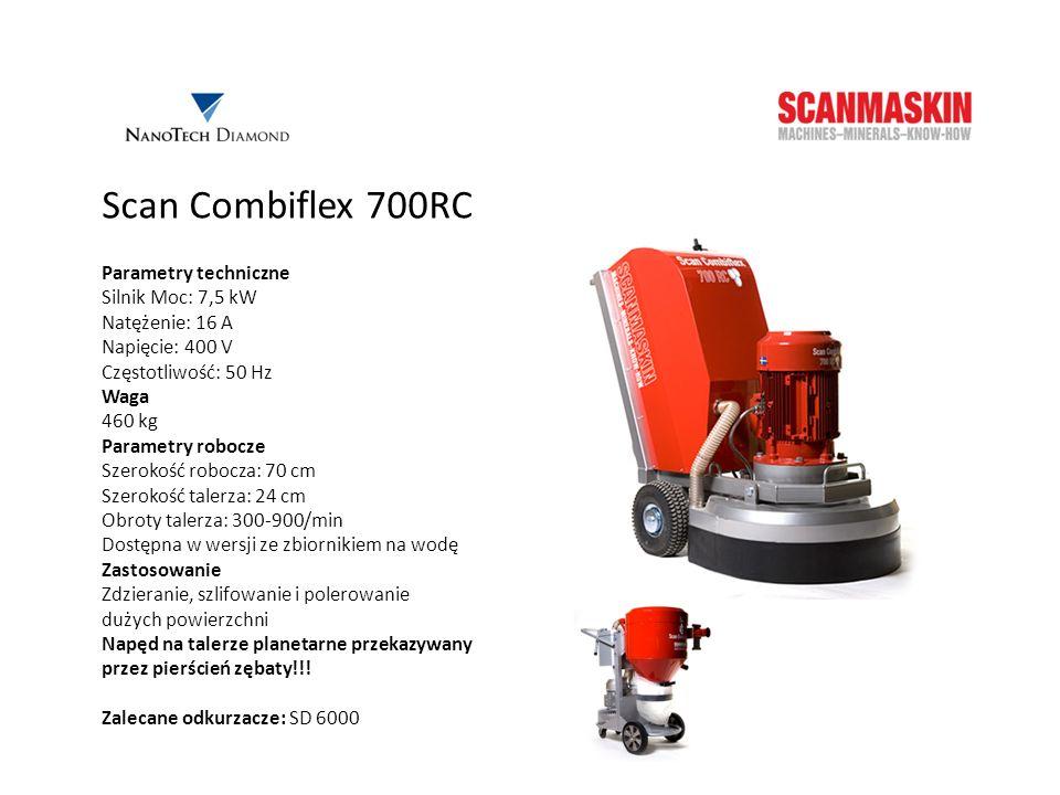 Scan Combiflex 700RC Parametry techniczne Silnik Moc: 7,5 kW Natężenie: 16 A Napięcie: 400 V Częstotliwość: 50 Hz Waga 460 kg Parametry robocze Szerok