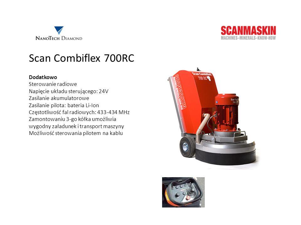 Scan Combiflex 700RC Dodatkowo Sterowanie radiowe Napięcie układu sterującego: 24V Zasilanie akumulatorowe Zasilanie pilota: bateria Li-Ion Częstotliw