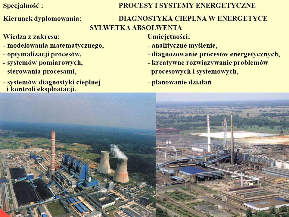 Przedmioty prowadzone na kierunkach dyplomowania: Cieplne Systemy Energetyczne Diagnostyka Cieplna w Energetyce SEMESTR 8 Zaopatrzenie w ciepło Ocena energetyczna budynków Elektroenergetyka Energetyka przemysłowa Inżynieria i energetyka gazowa SEMESTR 9 Energetyka jądrowa Zarządzanie w energetyce Audyting energetyczny