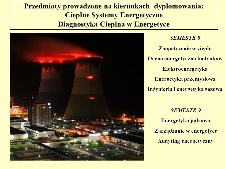 Przedmioty prowadzone na kierunkach dyplomowania: Cieplne Systemy Energetyczne Diagnostyka Cieplna w Energetyce SEMESTR 8 Zaopatrzenie w ciepło Ocena