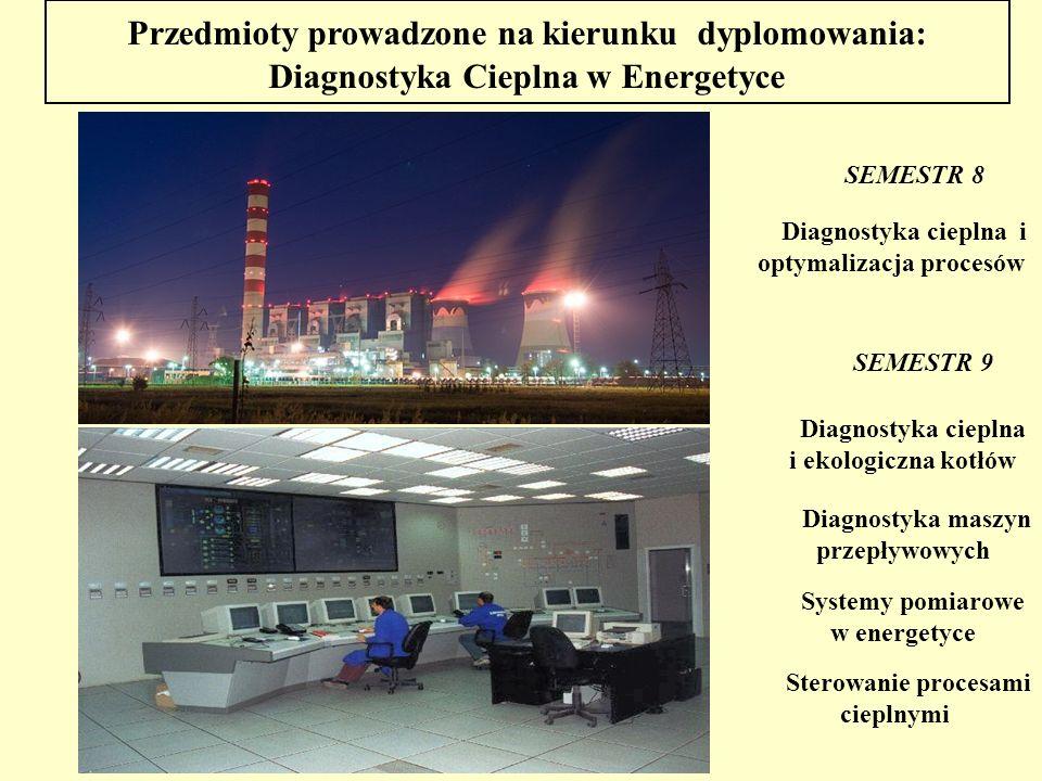 Przedmioty prowadzone na kierunku dyplomowania: Diagnostyka Cieplna w Energetyce SEMESTR 8 Diagnostyka cieplna i optymalizacja procesów SEMESTR 9 Syst