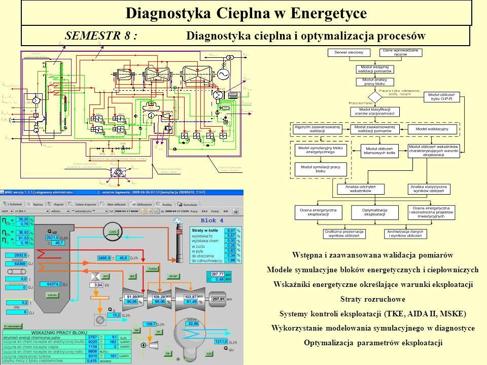 Diagnostyka Cieplna w Energetyce SEMESTR 8 : Diagnostyka cieplna i optymalizacja procesów Wstępna i zaawansowana walidacja pomiarów Modele symulacyjne