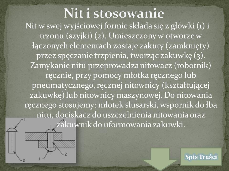 Nit w swej wyjściowej formie składa się z główki (1) i trzonu (szyjki) (2).