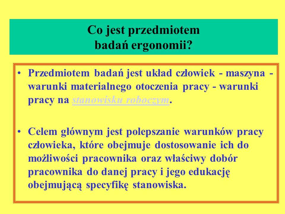 Co to jest ergonomia? Ergonomia - nauka o pracy, czyli dyscyplina naukowa zajmująca się dostosowaniem pracy do możliwości psychofizycznych człowieka.p