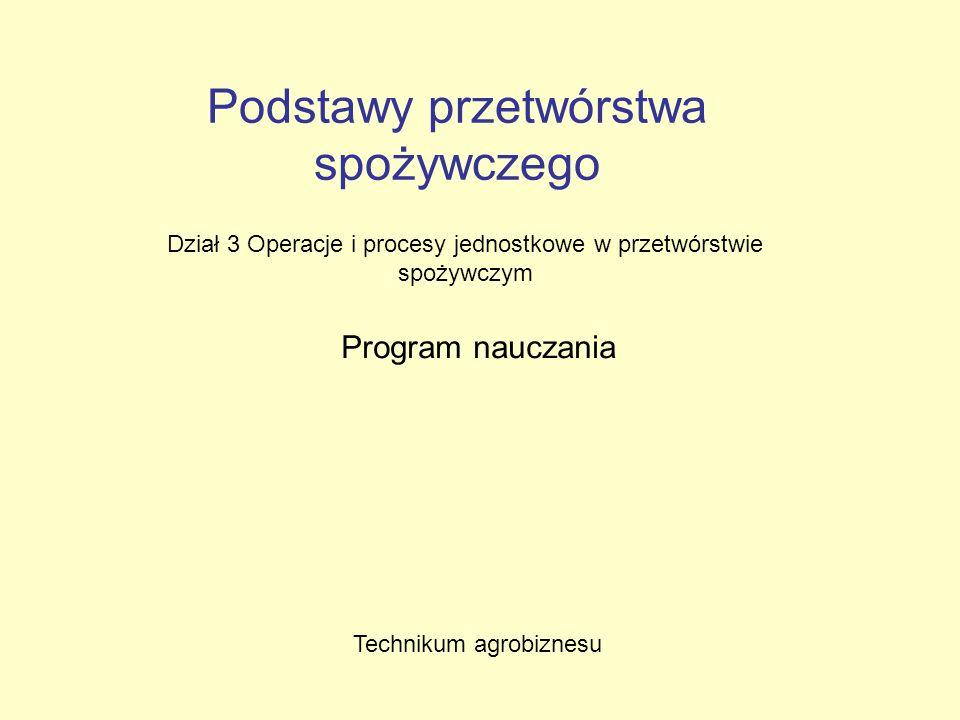 Podstawy przetwórstwa spożywczego Dział 3 Operacje i procesy jednostkowe w przetwórstwie spożywczym Program nauczania Technikum agrobiznesu