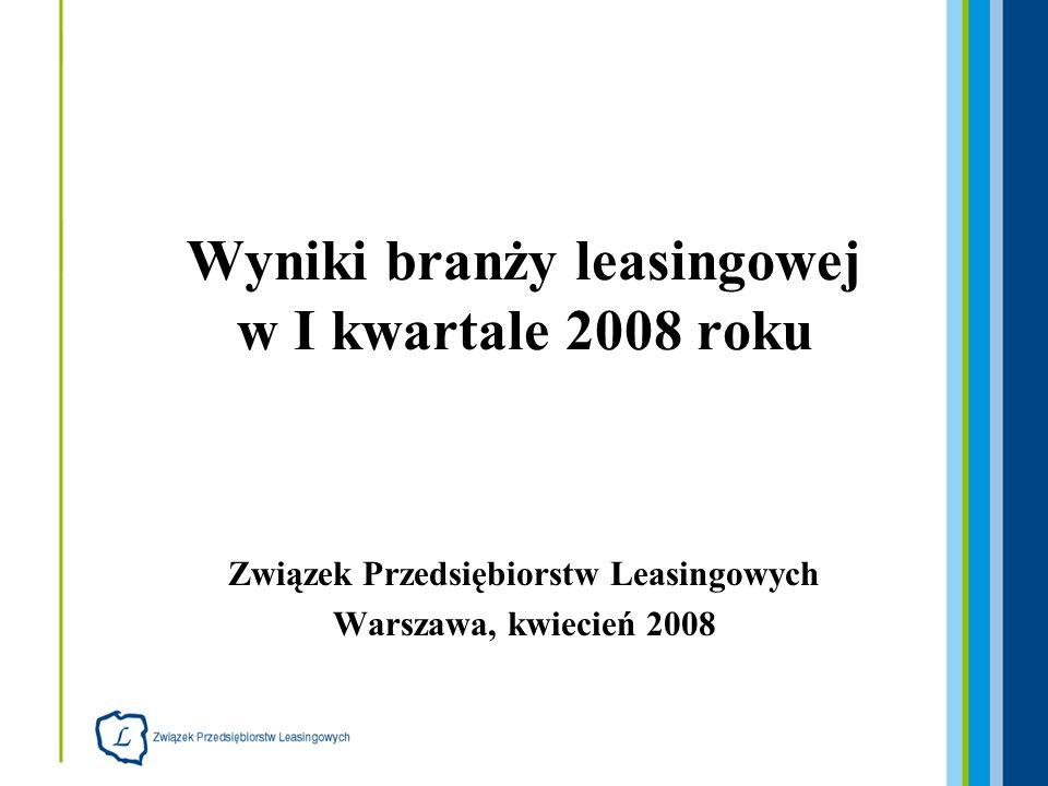2 34 firmy leasingowe, które udostępniły dane: Bankowy Fundusz Leasingowy BGŻ Leasing BNP Paribas Lease Group BPH Leasing (HVB Group) BRE Leasing (Commerzbank Group) BZ WBK Leasing (AIB Group) Caterpillar Financial Services Poland DnB Nord Leasing(BISE Atechnet Leasing) De Lage Landen Leasing Deutsche Leasing Polska Europejski Fundusz Leasingowy (Credit Agricole Group) Fidis Leasing Polska Fortis Lease Polska Getin Leasing Handlowy-Leasing IKB Leasing Polska Impuls Leasing ING Lease Polska (ING Group) Kredyt Lease Masterlease Polska Millennium Leasing (Banco) Mercedes-Benz Leasing Sp.