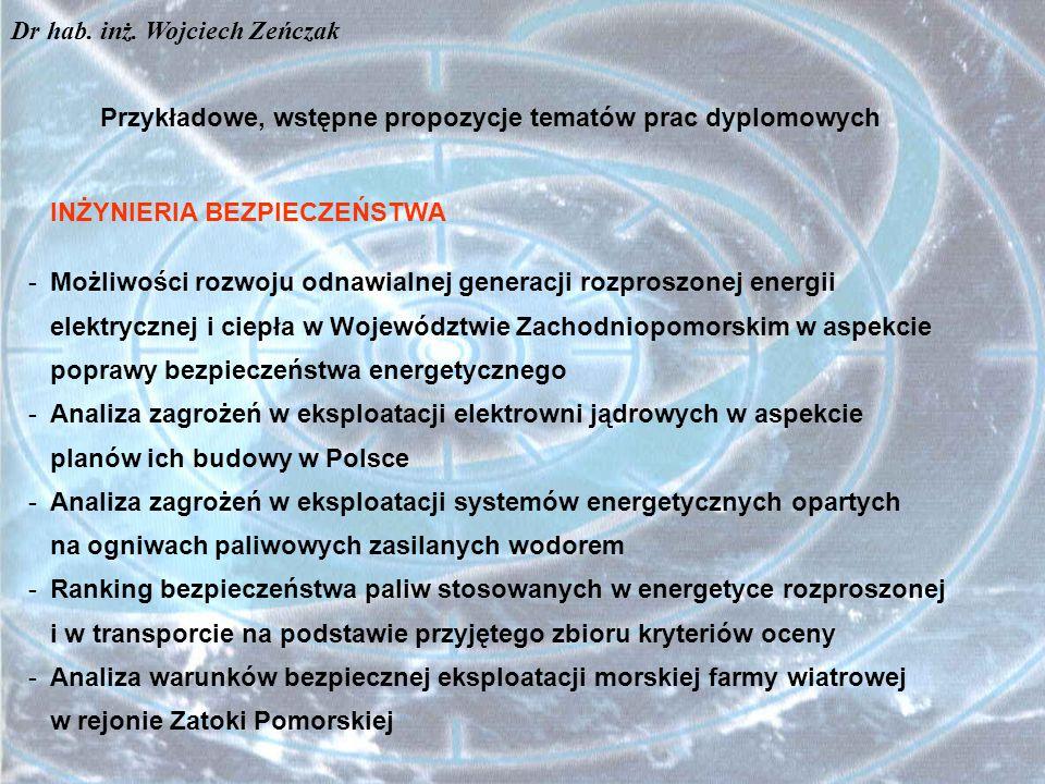 Przykładowe, wstępne propozycje tematów prac dyplomowych INŻYNIERIA BEZPIECZEŃSTWA -Możliwości rozwoju odnawialnej generacji rozproszonej energii elek