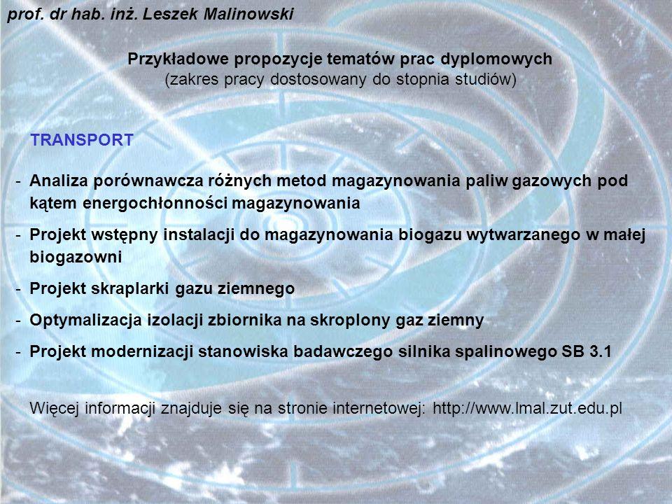 Przykładowe propozycje tematów prac dyplomowych INŻYNIERIA BEZPIECZEŃSTWA Informacje znajdują się na stronie internetowej: http://www.lmal.zut.edu.pl prof.