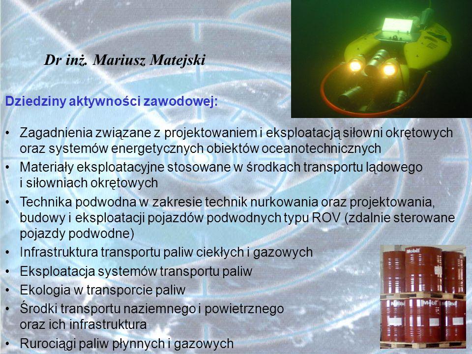 Przykładowe, wstępne propozycje tematów prac dyplomowych INŻYNIERIA BEZPIECZEŃSTWA -Możliwości rozwoju odnawialnej generacji rozproszonej energii elektrycznej i ciepła w Województwie Zachodniopomorskim w aspekcie poprawy bezpieczeństwa energetycznego -Analiza zagrożeń w eksploatacji elektrowni jądrowych w aspekcie planów ich budowy w Polsce -Analiza zagrożeń w eksploatacji systemów energetycznych opartych na ogniwach paliwowych zasilanych wodorem -Ranking bezpieczeństwa paliw stosowanych w energetyce rozproszonej i w transporcie na podstawie przyjętego zbioru kryteriów oceny -Analiza warunków bezpiecznej eksploatacji morskiej farmy wiatrowej w rejonie Zatoki Pomorskiej Dr hab.