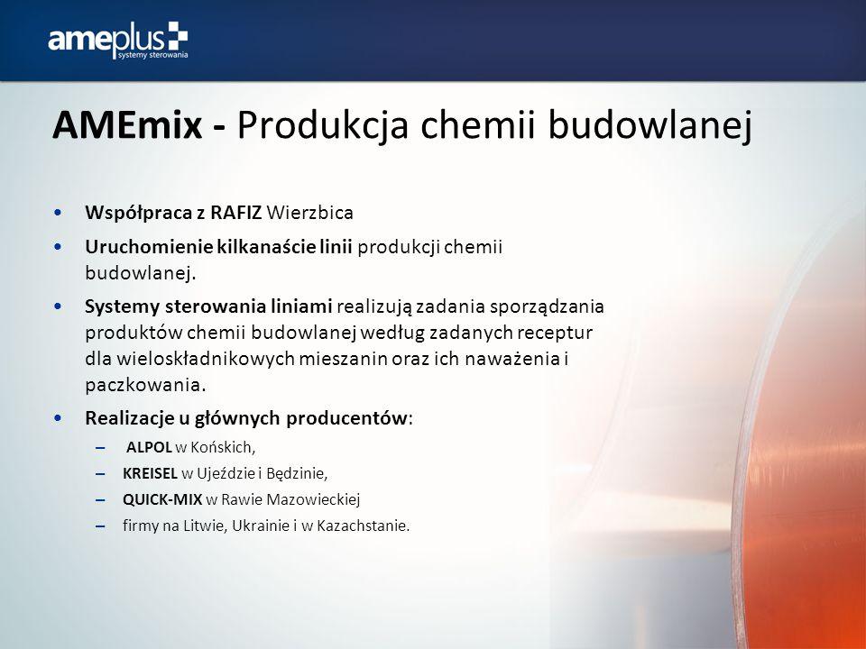 AMEmix - Produkcja chemii budowlanej Współpraca z RAFIZ Wierzbica Uruchomienie kilkanaście linii produkcji chemii budowlanej. Systemy sterowania linia