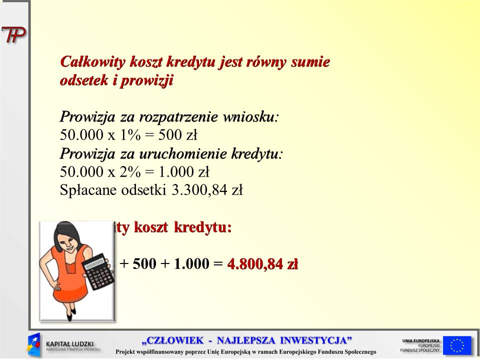 Całkowity koszt kredytu jest równy sumie odsetek i prowizji Prowizja za rozpatrzenie wniosku: 50.000 x 1% = 500 zł Prowizja za uruchomienie kredytu: 50.000 x 2% = 1.000 zł Spłacane odsetki 3.300,84 zł Całkowity koszt kredytu: 4.800,84 zł 3.300,84 + 500 + 1.000 = 4.800,84 zł