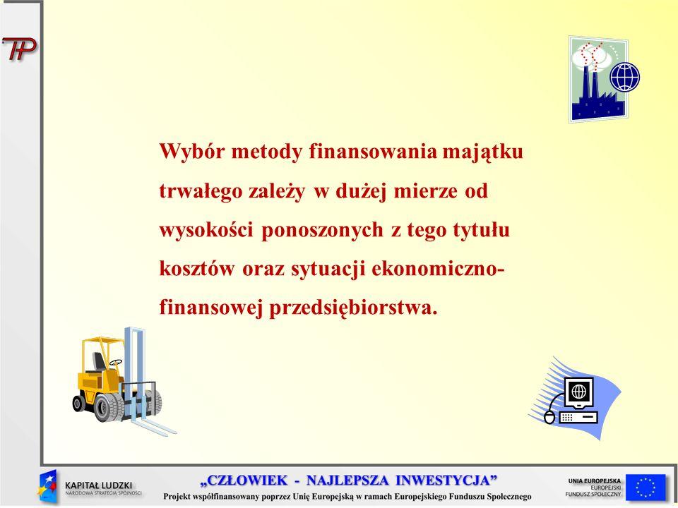 Wybór metody finansowania majątku trwałego zależy w dużej mierze od wysokości ponoszonych z tego tytułu kosztów oraz sytuacji ekonomiczno- finansowej przedsiębiorstwa.