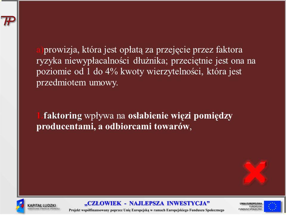 a)prowizja, która jest opłatą za przejęcie przez faktora ryzyka niewypłacalności dłużnika; przeciętnie jest ona na poziomie od 1 do 4% kwoty wierzytelności, która jest przedmiotem umowy.