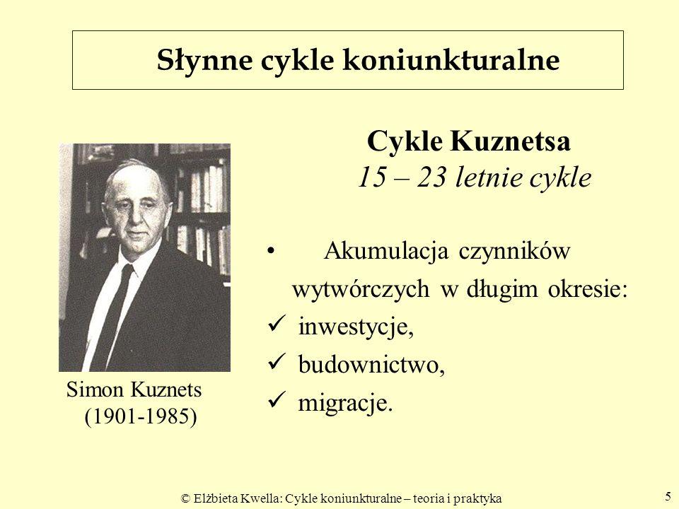 © Elżbieta Kwella: Cykle koniunkturalne – teoria i praktyka 5 Cykle Kuznetsa 15 – 23 letnie cykle Akumulacja czynników wytwórczych w długim okresie: i