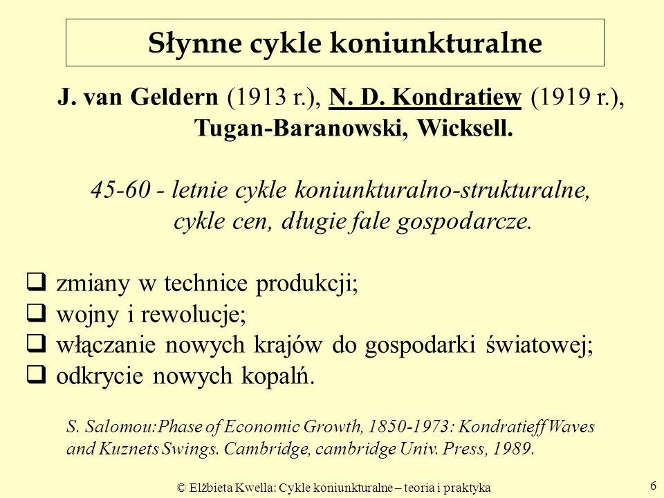 © Elżbieta Kwella: Cykle koniunkturalne – teoria i praktyka 7 Cykle Kondratiewa (1922 r.) Koniunktura gospodarcza od XVIII wieku powtarzała się według regularnych, około półwiecznych cykli.