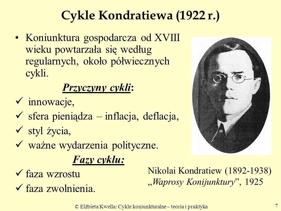 © Elżbieta Kwella: Cykle koniunkturalne – teoria i praktyka 7 Cykle Kondratiewa (1922 r.) Koniunktura gospodarcza od XVIII wieku powtarzała się według