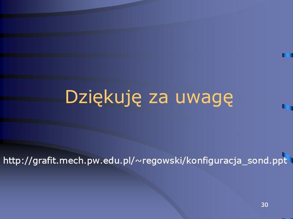 30 Dziękuję za uwagę http://grafit.mech.pw.edu.pl/~regowski/konfiguracja_sond.ppt