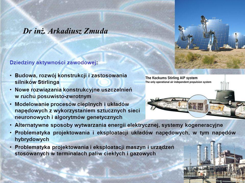 Dr inż. Arkadiusz Zmuda Dziedziny aktywności zawodowej: Budowa, rozwój konstrukcji i zastosowania silników Stirlinga Nowe rozwiązania konstrukcyjne us