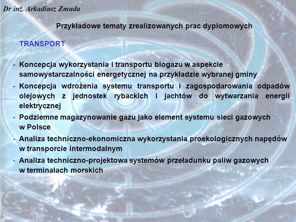 Przykładowe tematy zrealizowanych prac dyplomowych TRANSPORT -Koncepcja wykorzystania i transportu biogazu w aspekcie samowystarczalności energetyczne