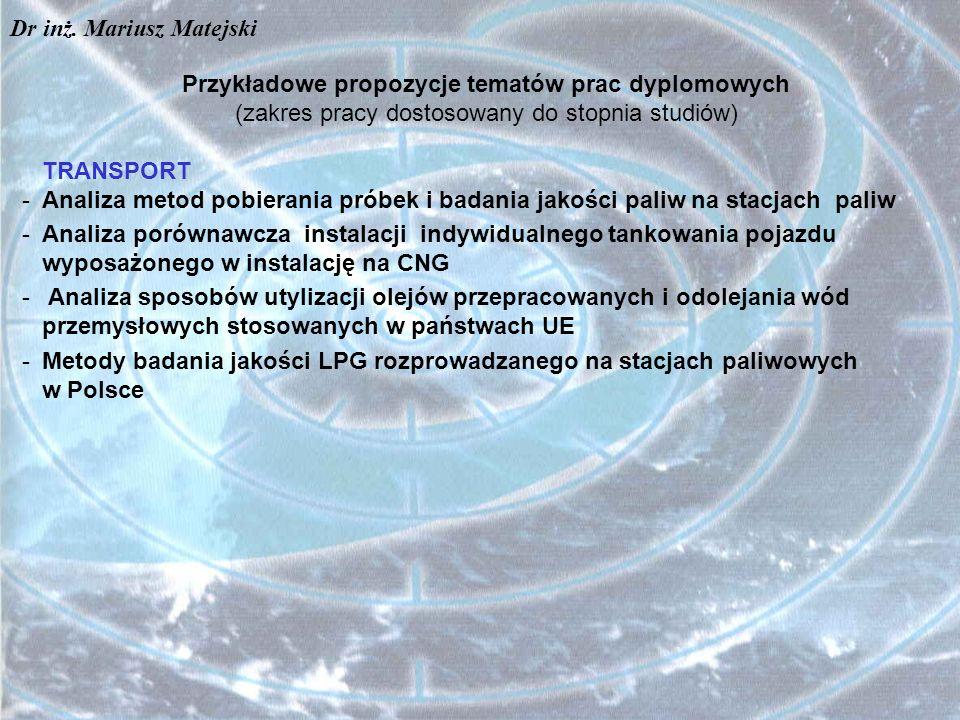 Przykładowe propozycje tematów prac dyplomowych (zakres pracy dostosowany do stopnia studiów) TRANSPORT -Analiza metod pobierania próbek i badania jak