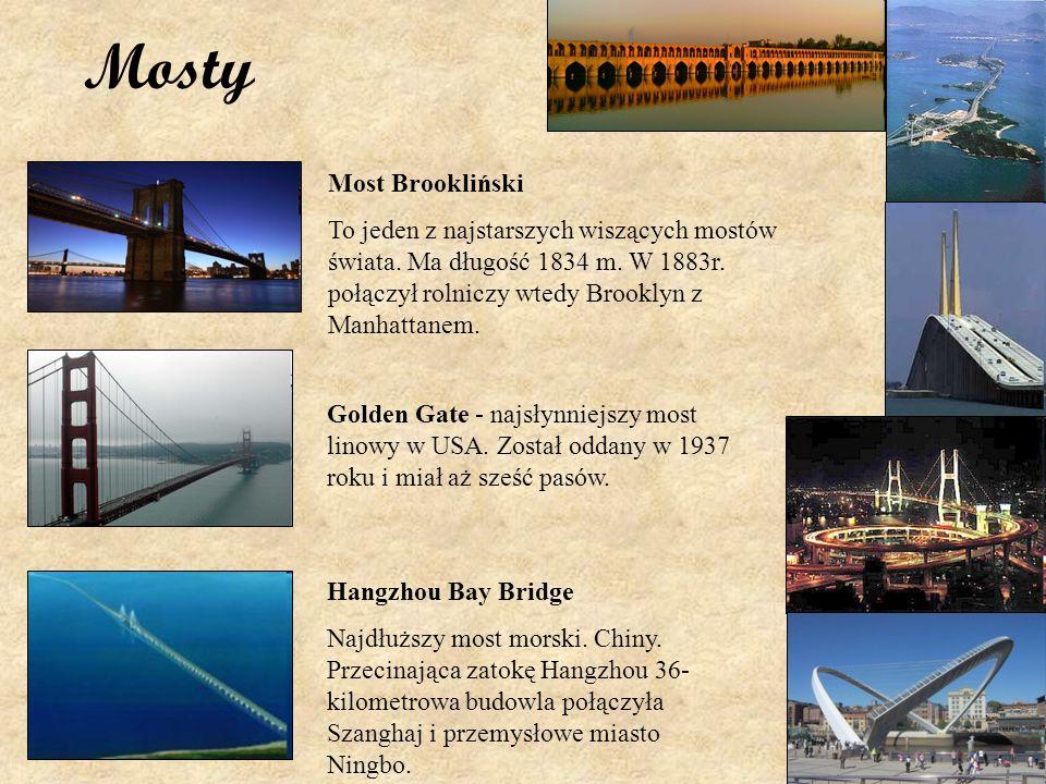 Mosty Most Brookliński To jeden z najstarszych wiszących mostów świata. Ma długość 1834 m. W 1883r. połączył rolniczy wtedy Brooklyn z Manhattanem. Go