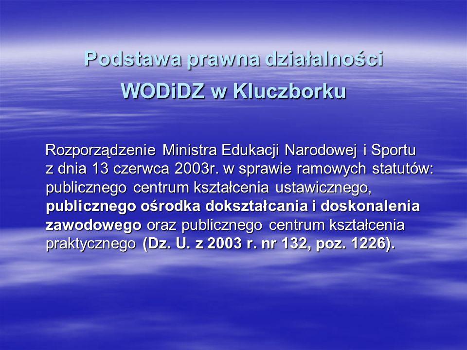Podstawa prawna działalności WODiDZ w Kluczborku Rozporządzenie Ministra Edukacji Narodowej i Sportu z dnia 13 czerwca 2003r. w sprawie ramowych statu