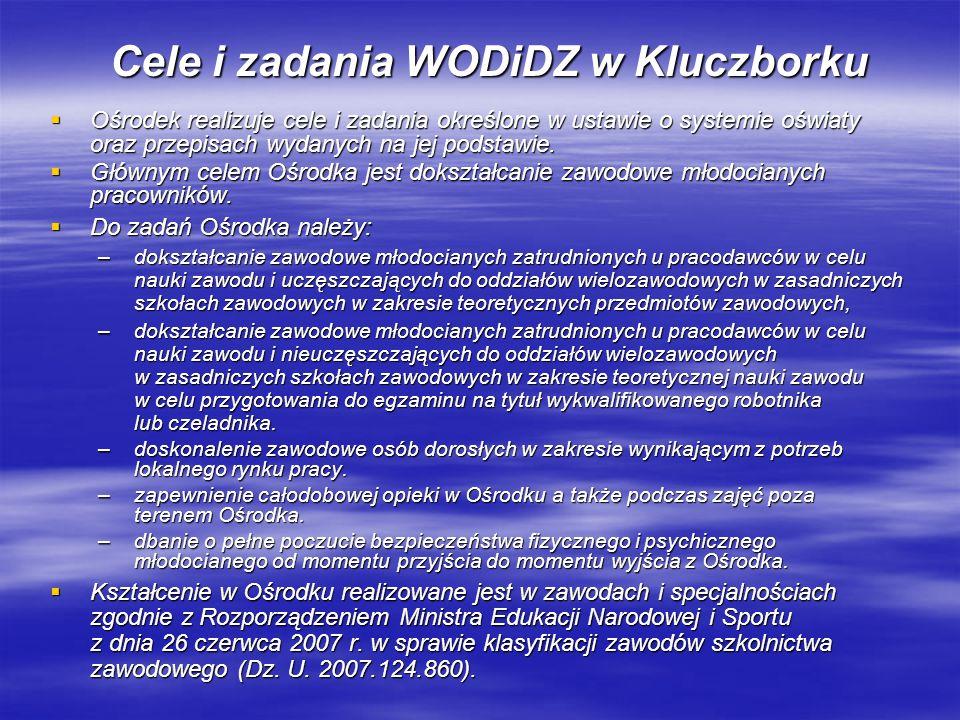 WODiDZ w Kluczborku prowadzi koordynację dokształcania zawodowego na terenie województwa opolskiego zgodnie z uchwałą podjętą na naradzie koordynacyjnej z przedstawicielami starostw powiatowych województwa opolskiego oraz dyrektorami ośrodków w dniu 22 marca 2004 r.
