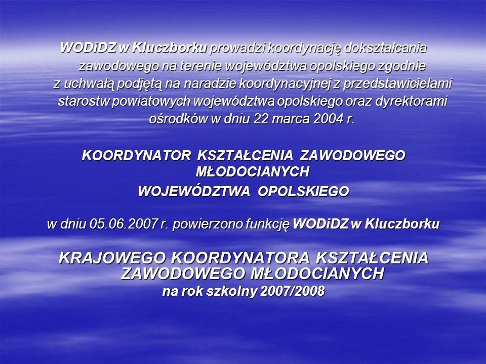 WODiDZ w Kluczborku prowadzi koordynację dokształcania zawodowego na terenie województwa opolskiego zgodnie z uchwałą podjętą na naradzie koordynacyjn