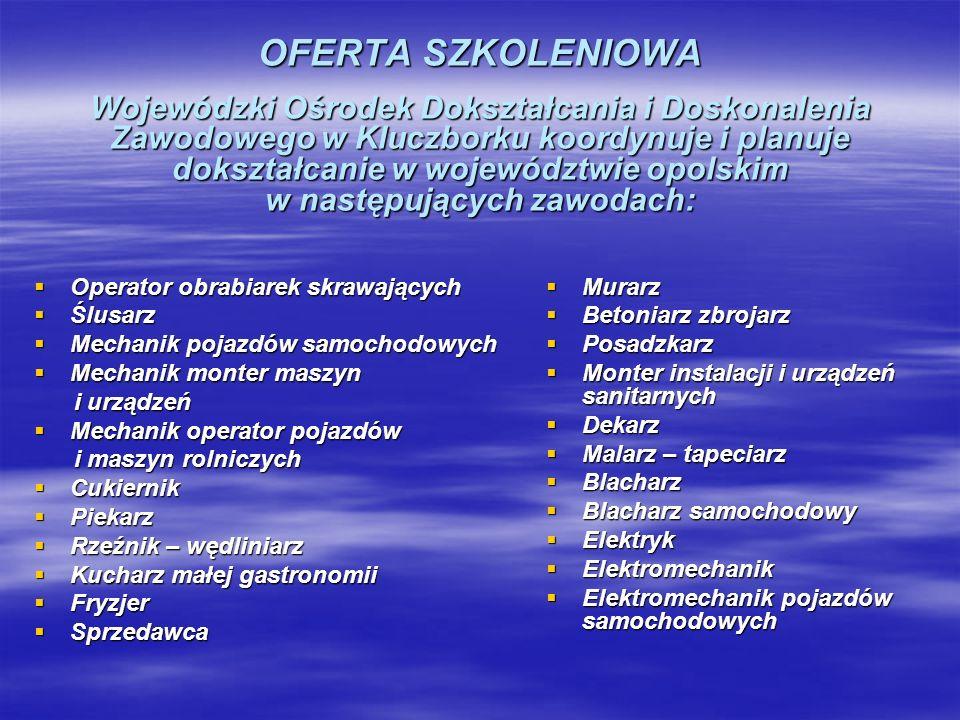 OFERTA SZKOLENIOWA Wojewódzki Ośrodek Dokształcania i Doskonalenia Zawodowego w Kluczborku koordynuje i planuje dokształcanie w województwie opolskim