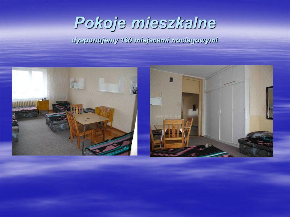 Pokoje mieszkalne dysponujemy 160 miejscami noclegowymi