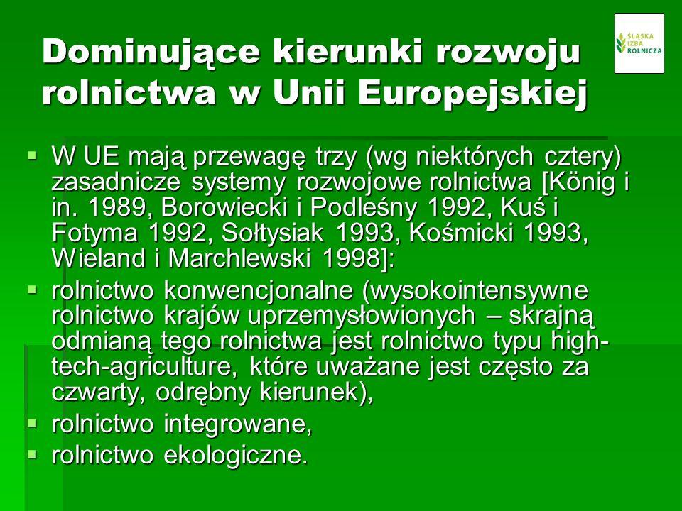 Dominujące kierunki rozwoju rolnictwa w Unii Europejskiej W UE mają przewagę trzy (wg niektórych cztery) zasadnicze systemy rozwojowe rolnictwa [König i in.