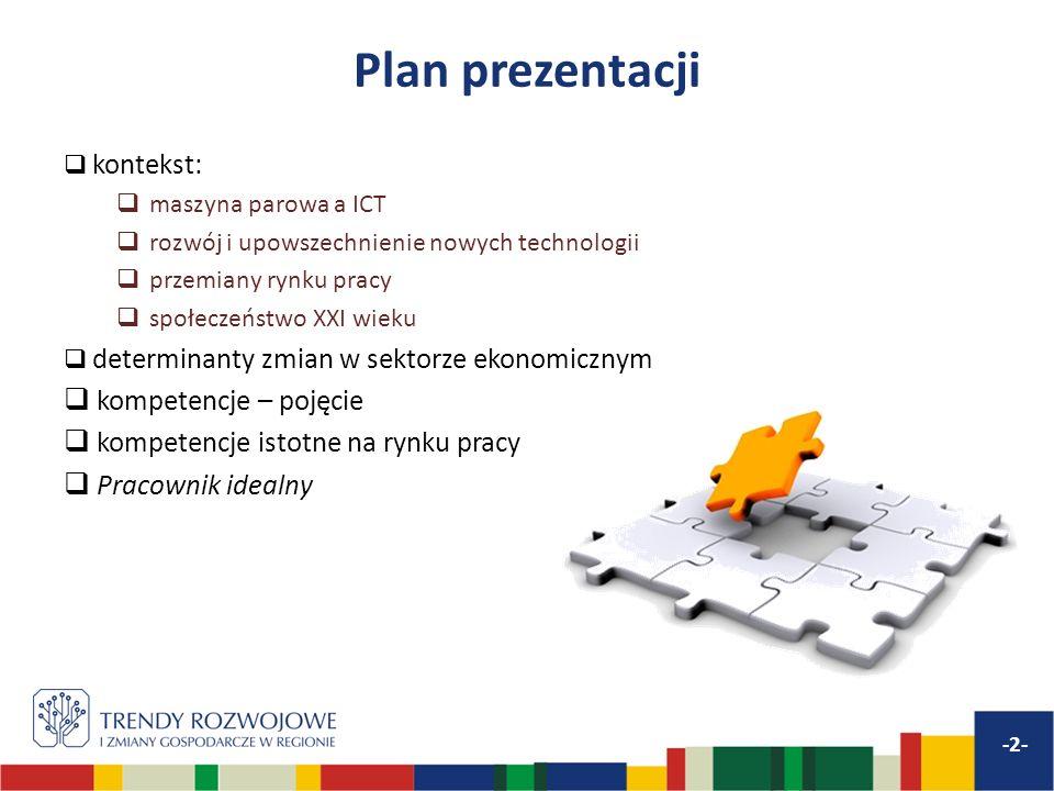 Plan prezentacji kontekst: maszyna parowa a ICT rozwój i upowszechnienie nowych technologii przemiany rynku pracy społeczeństwo XXI wieku determinanty
