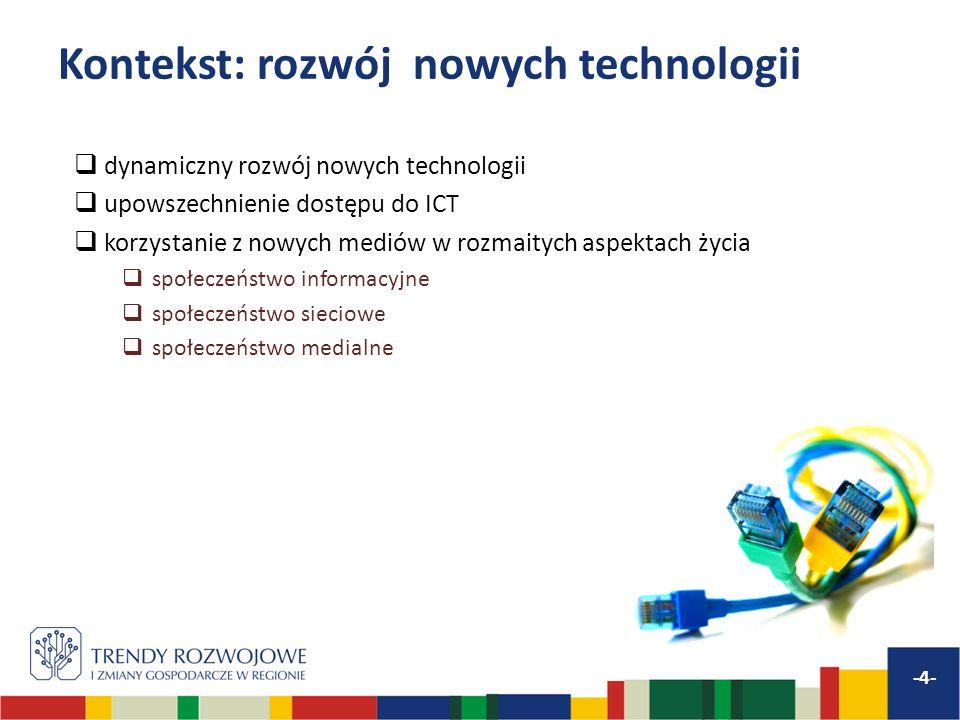 Kontekst: rozwój nowych technologii -4- dynamiczny rozwój nowych technologii upowszechnienie dostępu do ICT korzystanie z nowych mediów w rozmaitych a
