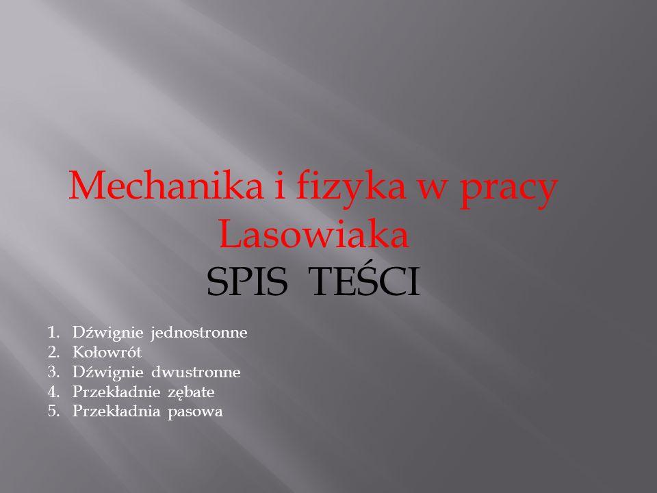 Mechanika i fizyka w pracy Lasowiaka SPIS TEŚCI 1.Dźwignie jednostronne 2.Kołowrót 3.Dźwignie dwustronne 4.Przekładnie zębate 5.Przekładnia pasowa
