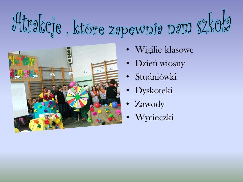 Wigilie klasowe Dzie ń wiosny Studniówki Dyskoteki Zawody Wycieczki