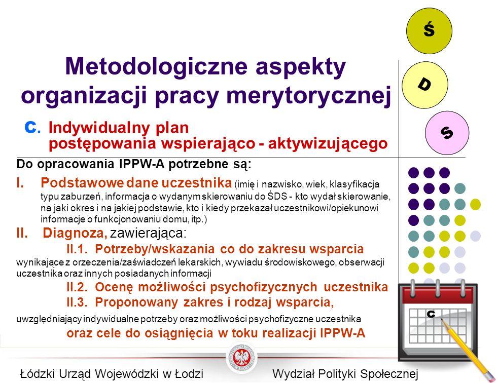 S D Ś Metodologiczne aspekty organizacji pracy merytorycznej C. Indywidualny plan postępowania wspierająco - aktywizującego Do opracowania IPPW-A potr