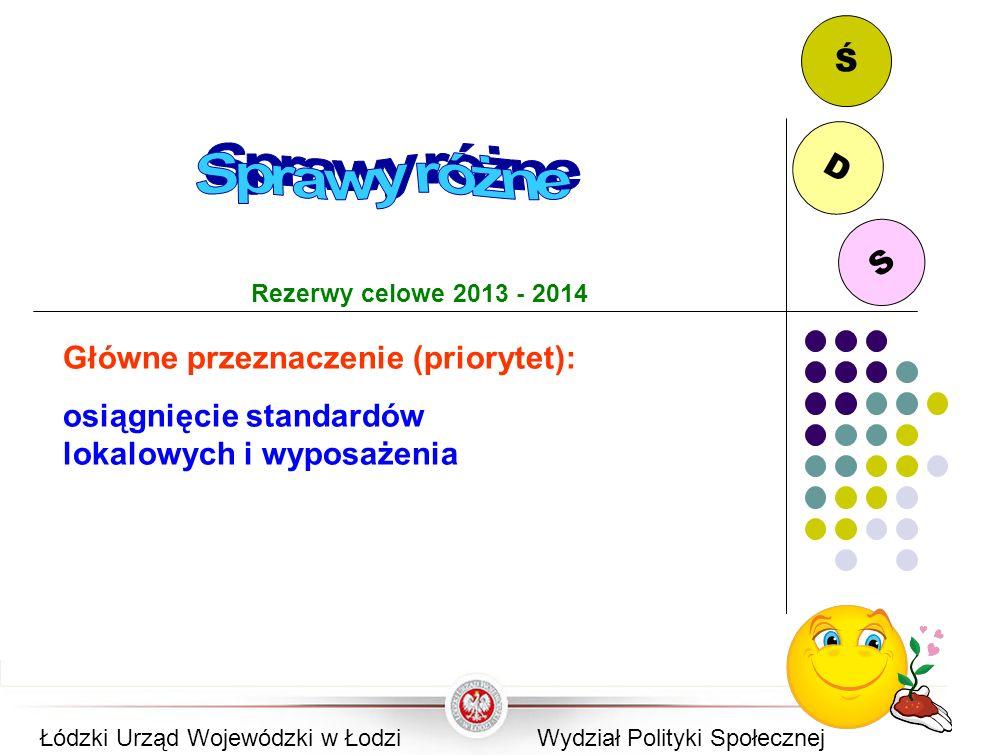 S D Ś Rezerwy celowe 2013 - 2014 Główne przeznaczenie (priorytet): osiągnięcie standardów lokalowych i wyposażenia Łódzki Urząd Wojewódzki w ŁodziWydz