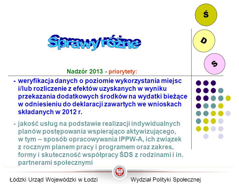 S D Ś Nadzór 2013 - priorytety: -weryfikacja danych o poziomie wykorzystania miejsc i/lub rozliczenie z efektów uzyskanych w wyniku przekazania dodatk