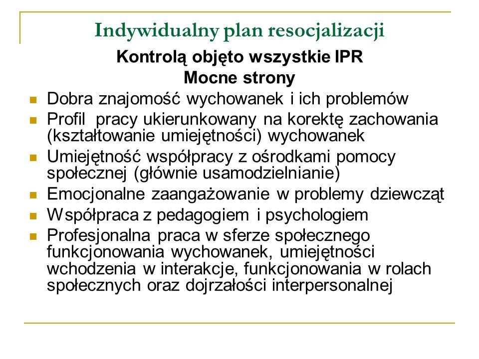 Indywidualny plan resocjalizacji Rekomendacje Profilowanie pracy na rodziców/otoczenie społeczne w środowisku Profilowanie pracy na wychowawców/nauczycieli Nawiązywanie partnerskiej współpracy z instytucjami (nie tylko w konkretnych sprawach) Określenie kompetencji osoby odpowiedzialnej za realizację IPR