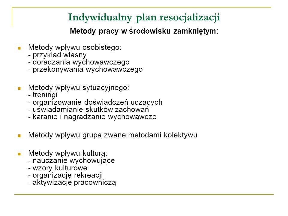 Indywidualny plan resocjalizacji Indywidualne plany resocjalizacji powinny obejmować: społeczne funkcjonowanie jednostki, umiejętność wchodzenia w interakcje, funkcjonowanie w rolach społecznych, dojrzałość interpersonalną funkcjonowanie w roli ucznia, zawodowe funkcjonowanie zdrowotne